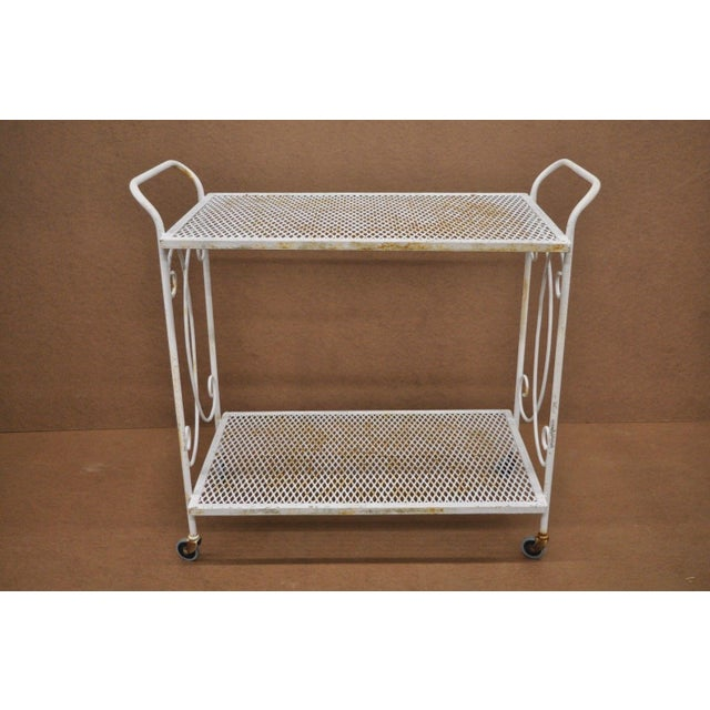 Mid-Century Modern Vintage Wrought Iron Metal Mesh Patio Tea Cart For Sale - Image 3 of 12
