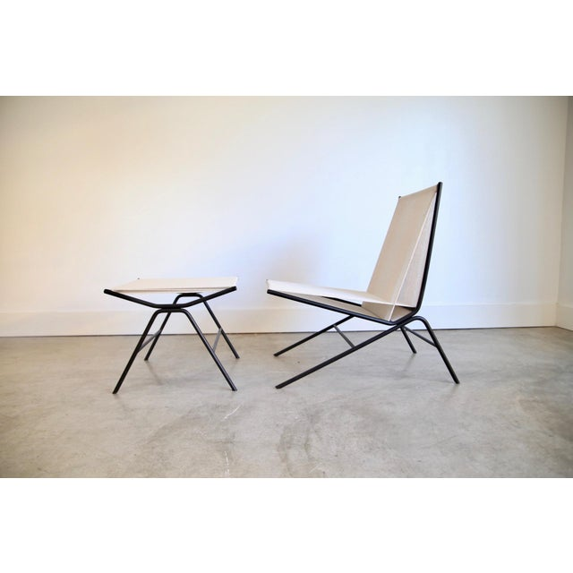 Mid-Century Modern Allan Gould String Chair & Ottoman For Sale - Image 3 of 11