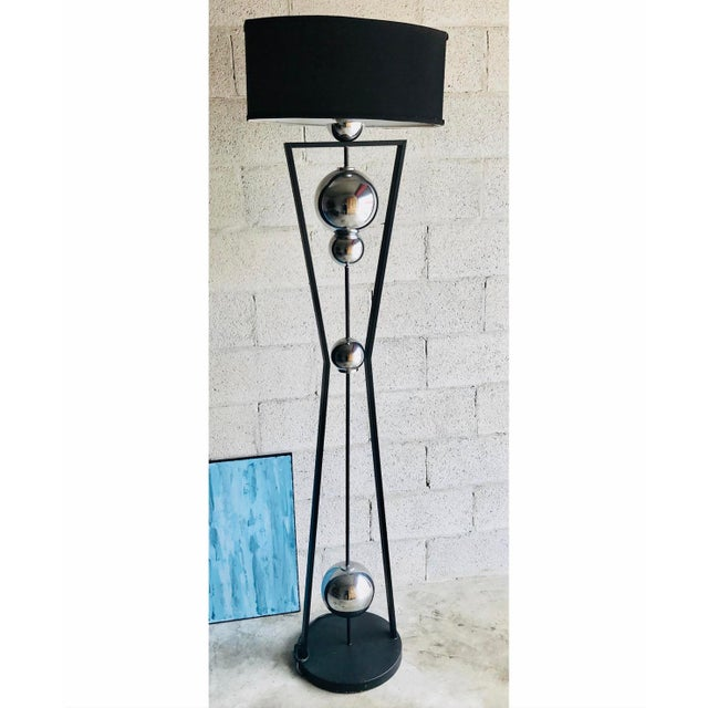 1990s Art Deco Style Chrome and Black Floor Lamp For Sale - Image 5 of 5