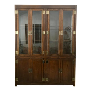 Mid-Century Walnut Glass Front Cabinet With Brass Hardware