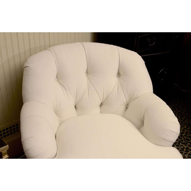 Ivory Tufted Swivel Chair For Sale - Image 7 of 9