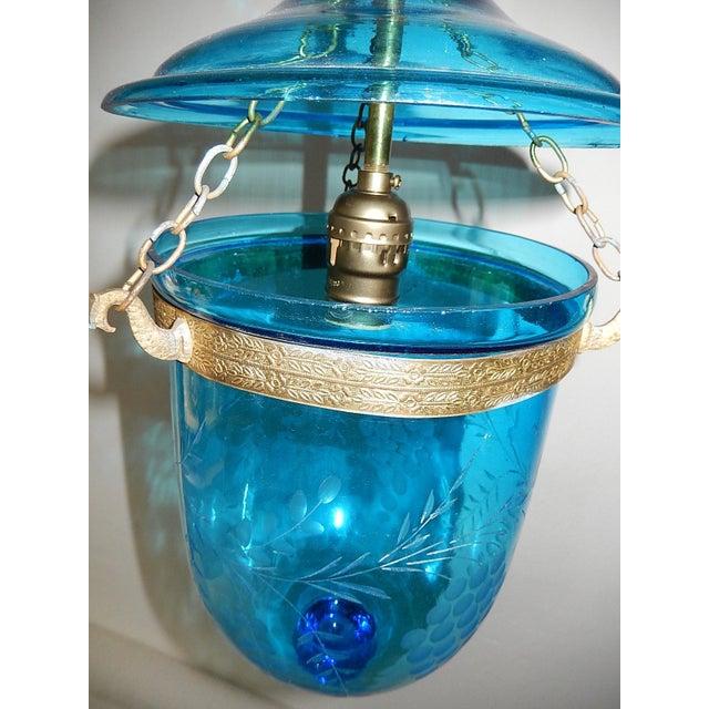 19th Century Cobalt Blue English Bell Jar Lantern Chandelier For Sale - Image 10 of 13