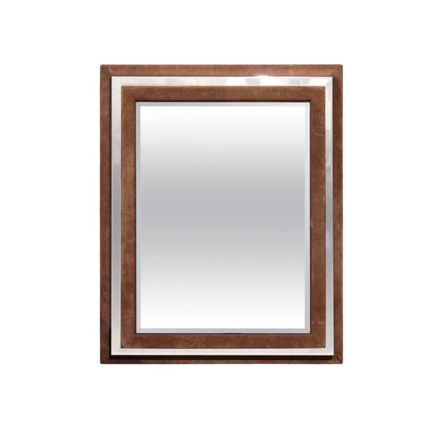 Art Deco Suede and Chrome Mirror For Sale - Image 4 of 4