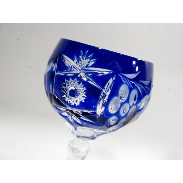 Traditional Nachtmann Traube Cobalt Blue Cut Clear Hock Wine Goblets - Set of 9 For Sale - Image 3 of 11