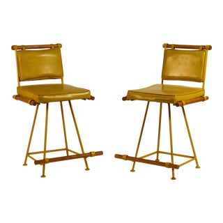 Cleo Baldon Yellow Swiveling Counter Stools - a Pair For Sale
