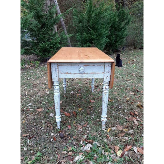 1800's Antique Pine Wood Drop Leaf Farmhouse Painted Distressed Table With Drawer For Sale - Image 10 of 13