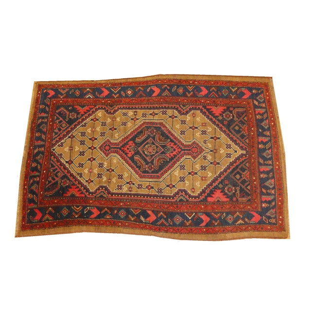 "Antique Persian Camel Rug - 4'4"" x 6'4"" - Image 1 of 4"