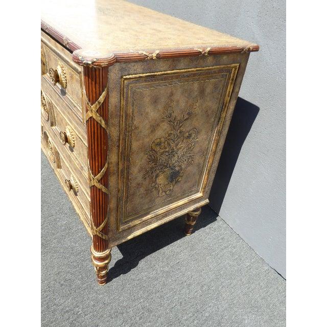 Vintage Maitland Smith Beige & Gold Ornate 3 Drawer Chest ~ Hollywood Regency Dresser For Sale - Image 11 of 13