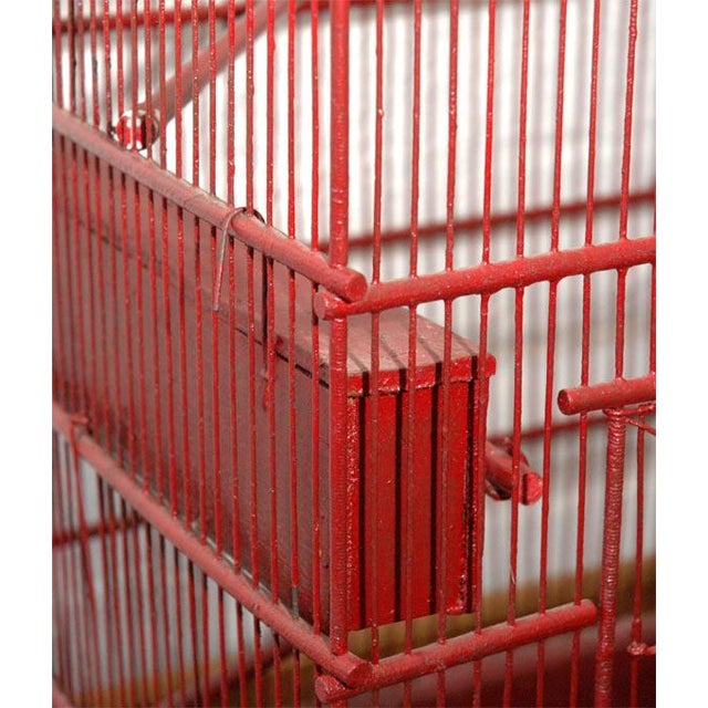 Metal Large Wire & Wood Birdcage For Sale - Image 7 of 9