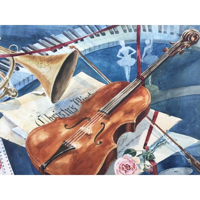 Vintage 1950's Watercolor Painting MusicViolin Trumpet Keyboards - Image 5 of 9