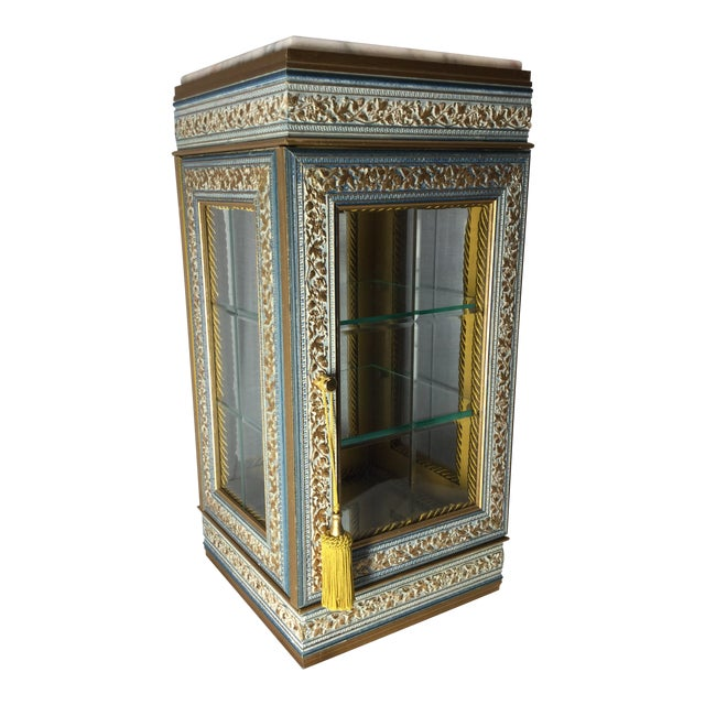 Italian Tabletop Display Case With Marble Top For Sale