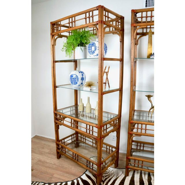 McGuire Style Rattan Etageres - A Pair For Sale In Las Vegas - Image 6 of 11