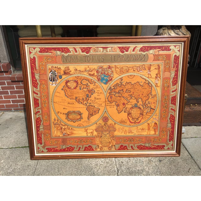 """Large Hand Painted Map of the World 1613 Nova Totivs Terrarvm 64"""" For Sale - Image 9 of 9"""