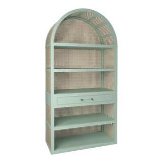 Leila Etagere Bookcase- Turquoise Mist For Sale