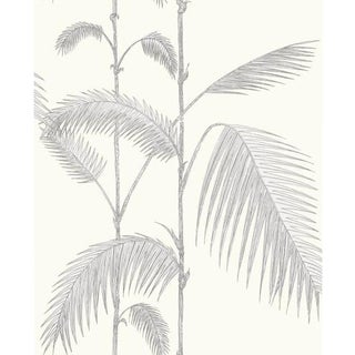 Cole & Son Palm Leaves Wallpaper Roll - Grey/White For Sale