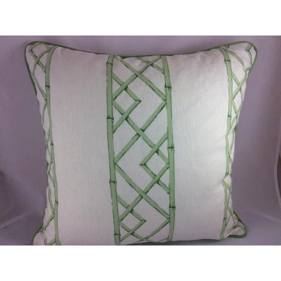 "Sarah Richardson's ""Latticely"" in Jade Pillows - a Pair For Sale - Image 4 of 5"