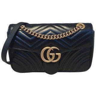 Gucci Gg Marmont Small Matelassé Black Leather Shoulder Bag For Sale