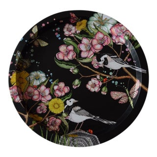 Modern Floral Tin Tray 'Wagtails Spring'