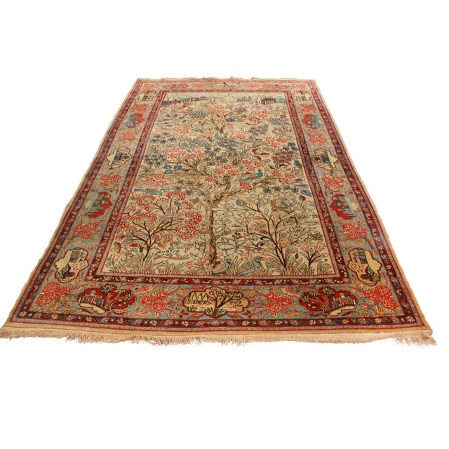 Islamic 1910s Antique Kashan Blue and Beige Wool Persian Rug-4′6″ × 7′1″ For Sale - Image 3 of 8