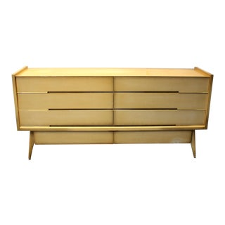 Large 1960's Mid-Century Modern Sculptural Dresser, Maple With Brass Pulls