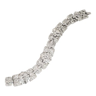 Art Deco Ktf Trifari Rhodium Crystal Bracelet by Alfred Philippe 1930s For Sale
