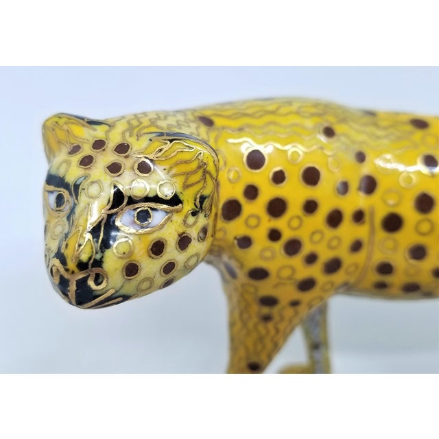 1980s Cheetah - Vintage Cloisonne Enamel and Brass Sculpture - Mid Century Modern Palm Beach Boho Chic Animal Tropical Coastal For Sale - Image 5 of 12