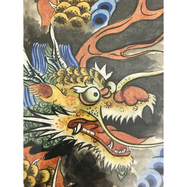 Vintage 'Flying Dragon in Storm Clouds' Water Colour Painting For Sale - Image 4 of 8