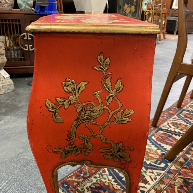 Gold 20th Century Asian Red Hand Painted Accent Table For Sale - Image 7 of 8