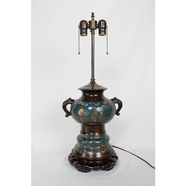 Restored Antique Champleve Table Lamp For Sale - Image 11 of 11