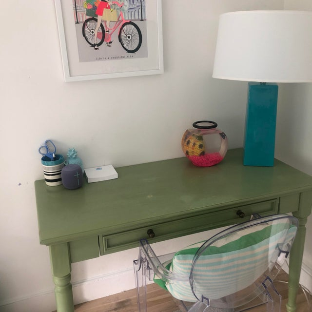 Shabby Chic Pottery Barn Green Wooden Writing Desk For Sale In Boston - Image 6 of 7