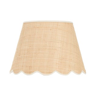 Matilda Goad Signature Scallop Lampshade in Raffia With Cream Trim, Medium For Sale