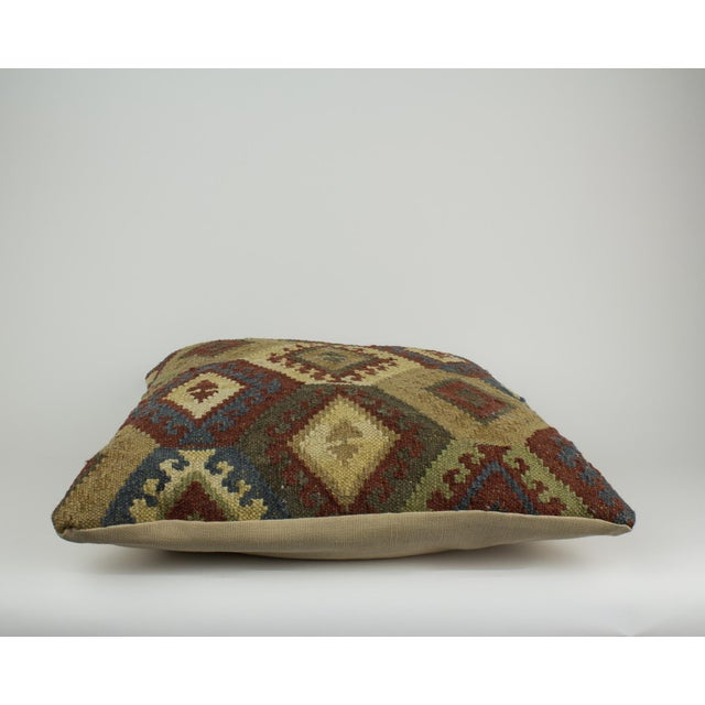 2000 - 2009 Brown and Blue Woven Kilim Pillow For Sale - Image 5 of 8