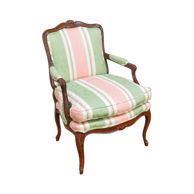 French Louis XV Style Custom Quality Fauteuil Arm Chair For Sale