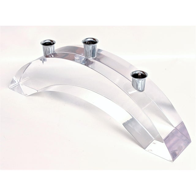 Vintage Lucite Arched Candle Holder by Astrolite Ritts For Sale In Miami - Image 6 of 11
