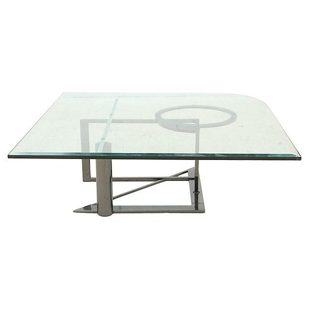 Modernist Glass & Chrome Coffee Table - Image 2 of 6