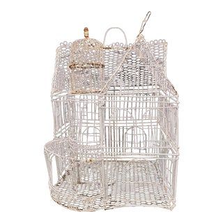 Vintage Marie Christophe Style Handmade Wire House Sculpture For Sale
