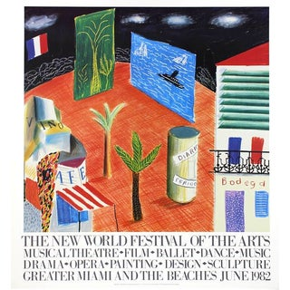1982 Vintage David Hockney Miami Beach Arts Festival Exhibition Poster For Sale