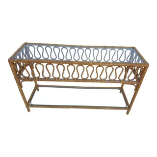Vintage Two Tier Rattan Console Table .