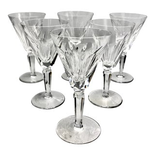 Vintage Waterford Sheila Pattern Crystal White Wine Glasses - Set of 6 For Sale