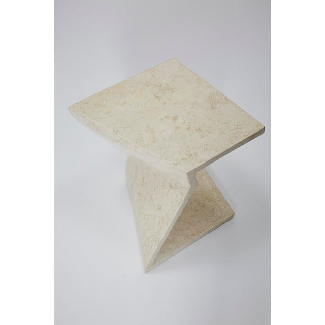 Zig Zag Side Tables or Coffee Table in Tessellated White Stone, 1990s - a Pair For Sale - Image 11 of 13