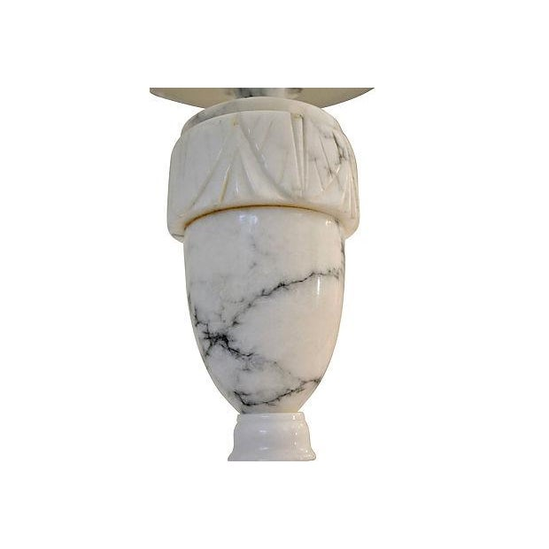 Neoclassical Carved Marble Lamps - A Pair For Sale - Image 4 of 8