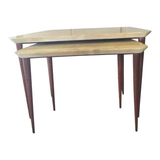 Mid-Century Modern Aldo Tura Vellum Nesting Tables - Set of 2 For Sale
