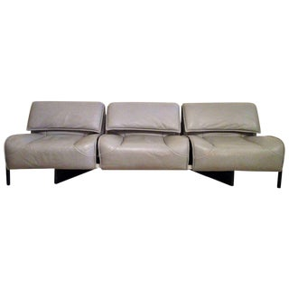 "1980s Cassina Vico Magistretti ""Veranda 3"" Leather Sofa"