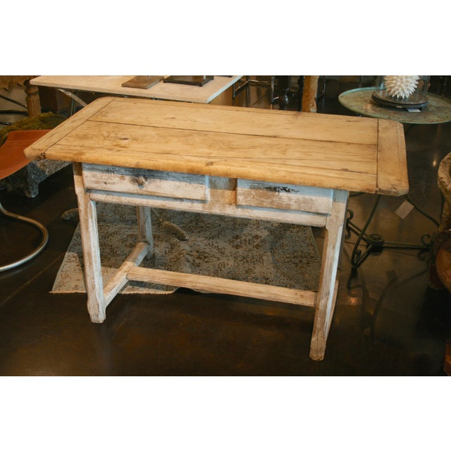 Wood Painted Oak Two Drawer Table For Sale - Image 7 of 7