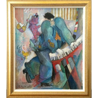 Michel Boulet Art Deco French Jazz Oil Painting on Canvas For Sale