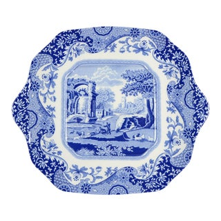 1960s Vintage Spode Blue Italian Square Handled Serving Plate For Sale
