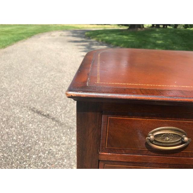 Barrel Back Walnut Desk With Leather Top Made by Baker Furniture For Sale - Image 9 of 11