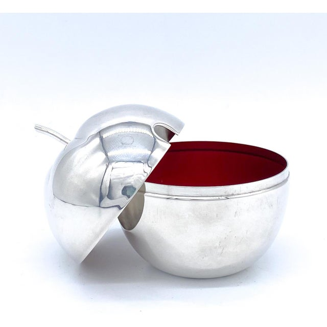 20th Century Reed and Barton Silver Plate With Red Enamel Apple Sugar Bowl/ Condiment Jar/ Salt Cellar For Sale - Image 10 of 10