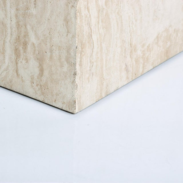 Tan Mid-Century Modern Travertine Cube Side Table For Sale - Image 8 of 9