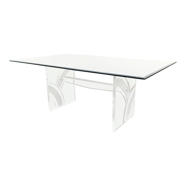 Vintage Frosted Lucite Dining Table For Sale